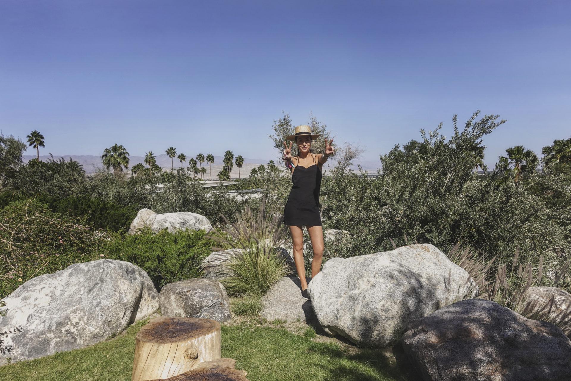 Palm Desert pre-game in a little black dress at Coachella