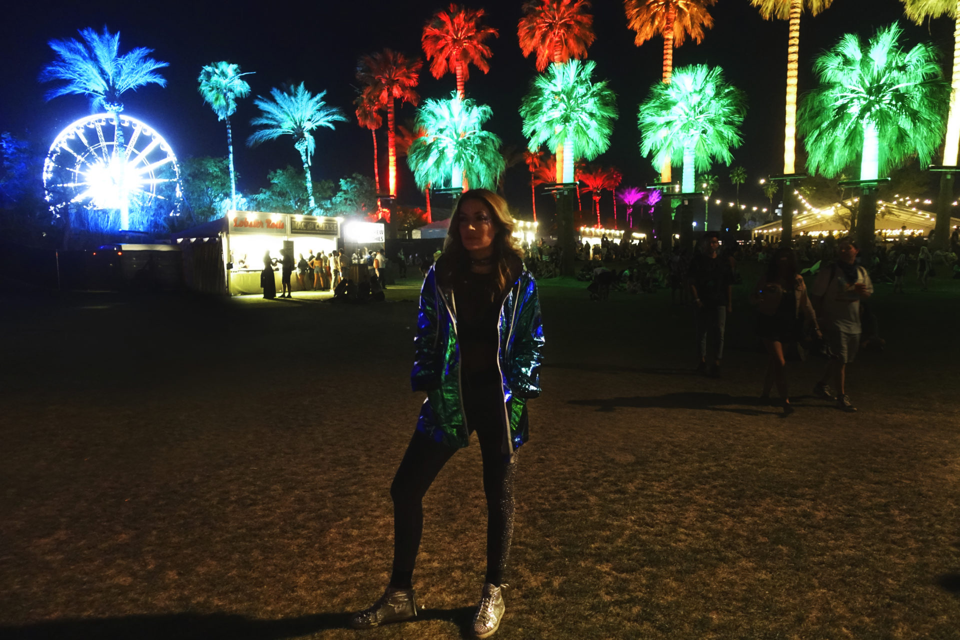 Coachella Night Palm Tree Music Festival
