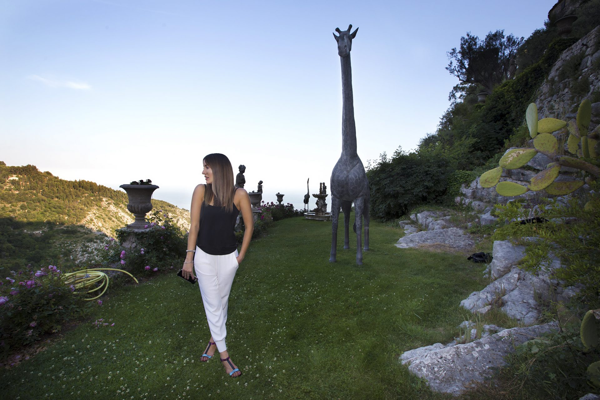 The gardens and giraffe sculptures of Chateau de la Chèvre d'or